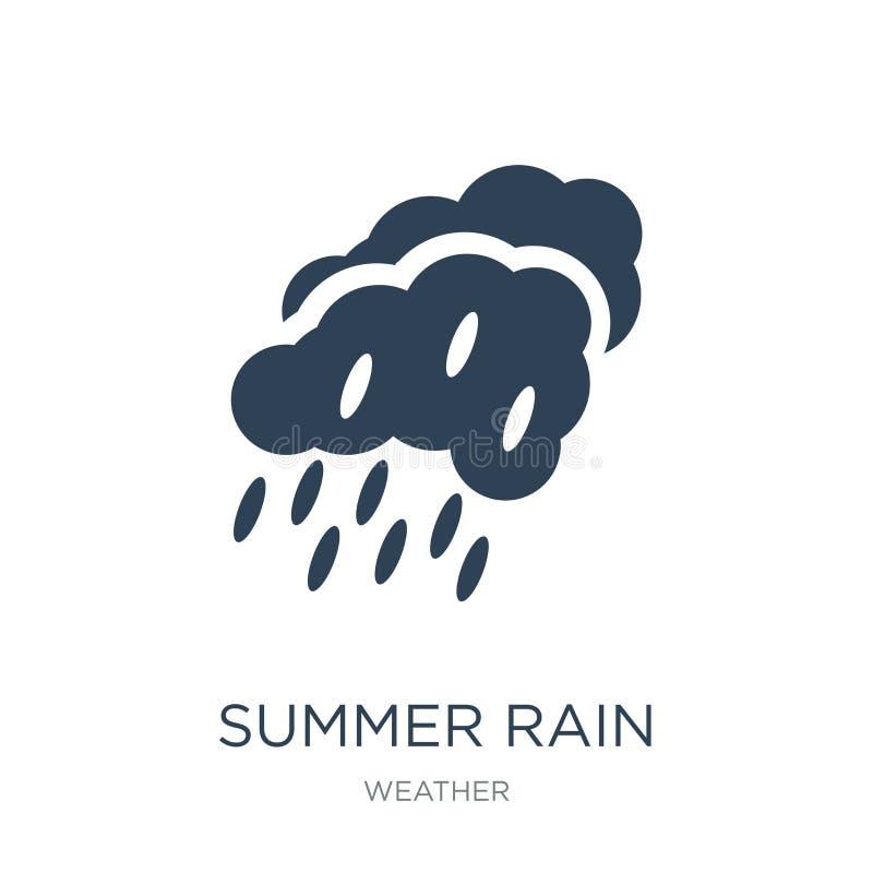 значок дождя лета в ультрамодном стиле дизайна значок дождя лета изолированный на белой предпосылке значок вектора дождя лета про бесплатная иллюстрация