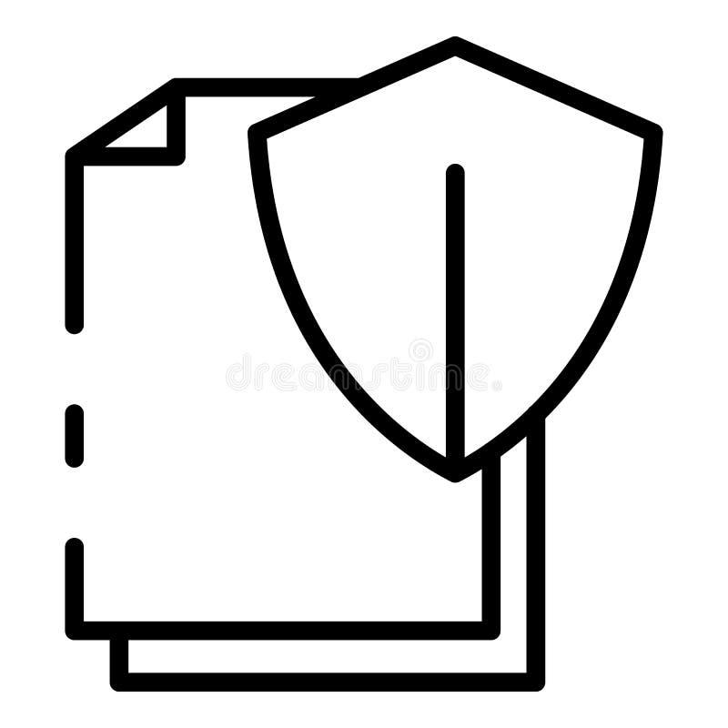 Значок документа защищенного экрана, стиль структуры иллюстрация штока