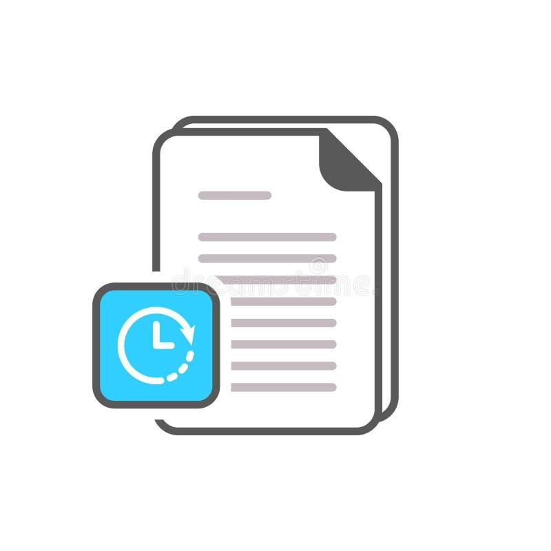Значок документа с знаком часов Значок документа и комплекс предпусковых операций, крайний срок, план-график, планируя символ иллюстрация вектора