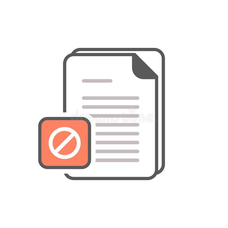 Значок документа с позволенным знаком Запрещенные значок и блок документа, запрещают символ бесплатная иллюстрация