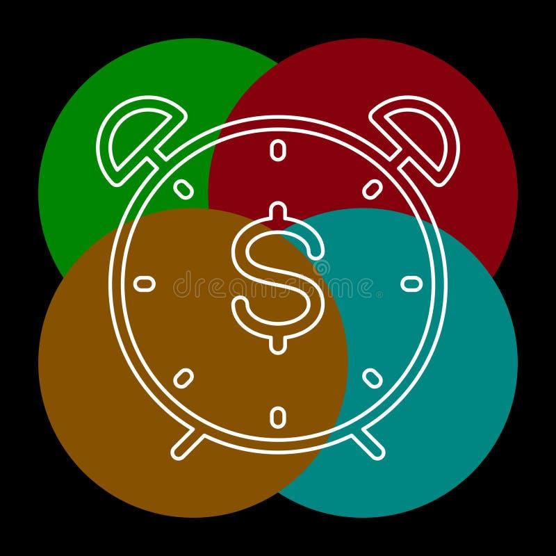 Значок доллара времени, время для концепции денег иллюстрация вектора