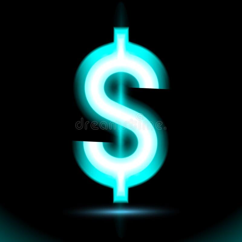 Значок доллара голубой неоновый Лампа, свет кнопки знака, символ для дизайна на черной предпосылке Объявление дневного зарева тем иллюстрация вектора