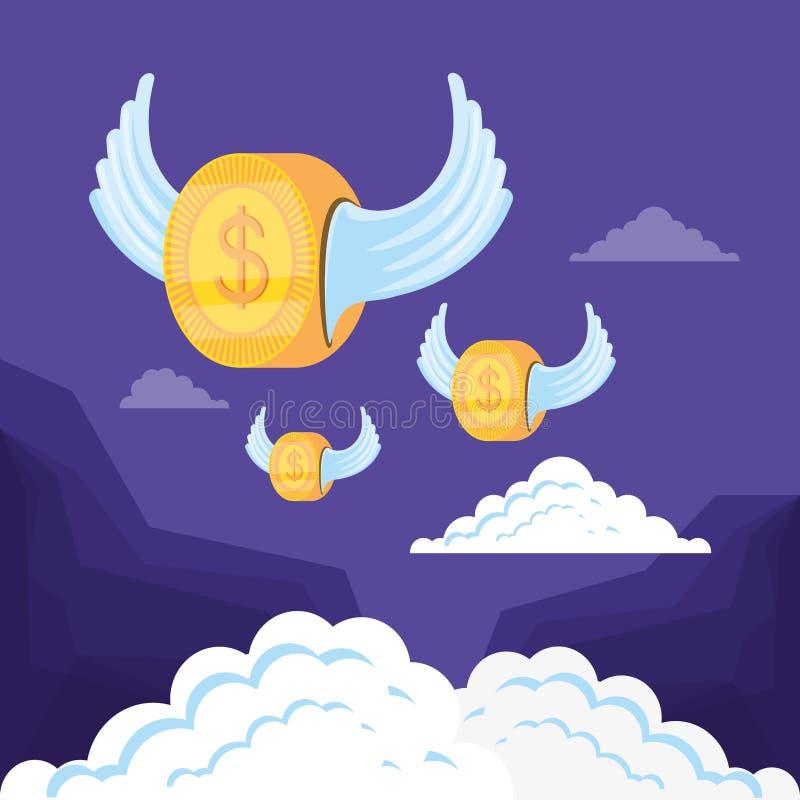 Значок доллара монетки изолированный летанием иллюстрация вектора