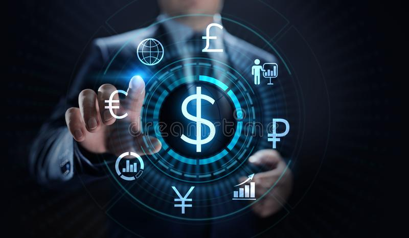 Значок доллара на экране Концепция дела валют тарифа торговли валютой стоковое фото