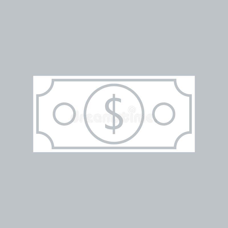 Значок доллара плоский на серой предпосылке, для любого случая иллюстрация штока