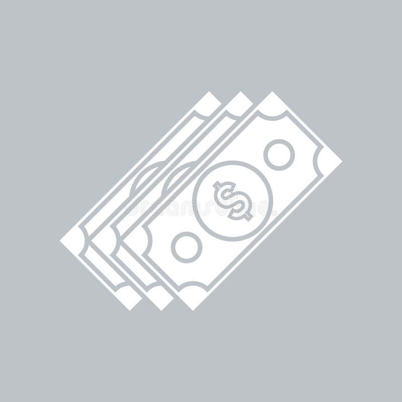 Значок доллара плоский на серой предпосылке, для любого случая иллюстрация вектора