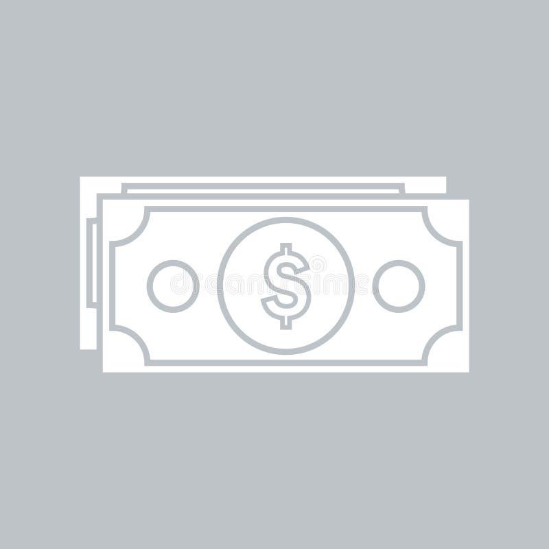 Значок доллара плоский на серой предпосылке, для любого случая бесплатная иллюстрация