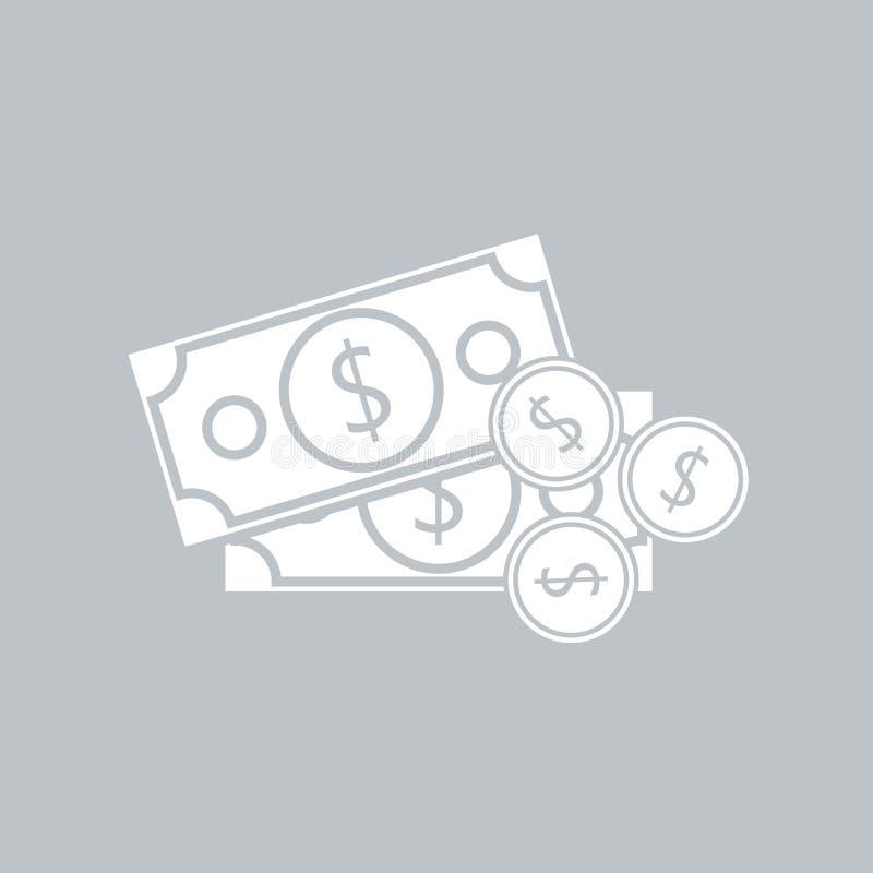 Значок доллара плоский с монеткой на серой предпосылке, для любого случая иллюстрация штока