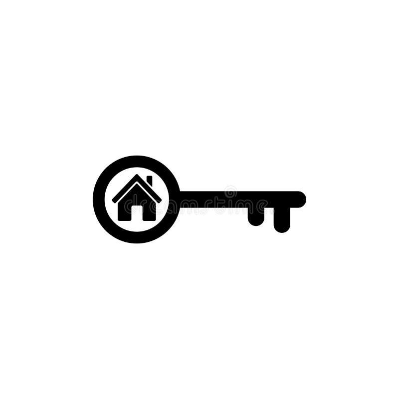 Значок домашнего ключа в плоском стиле Простой символ имущества иллюстрация штока