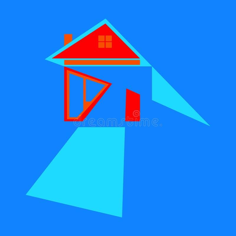 значок дома со стрелками как символы на пути к успеху с голубой предпосылкой иллюстрация вектора