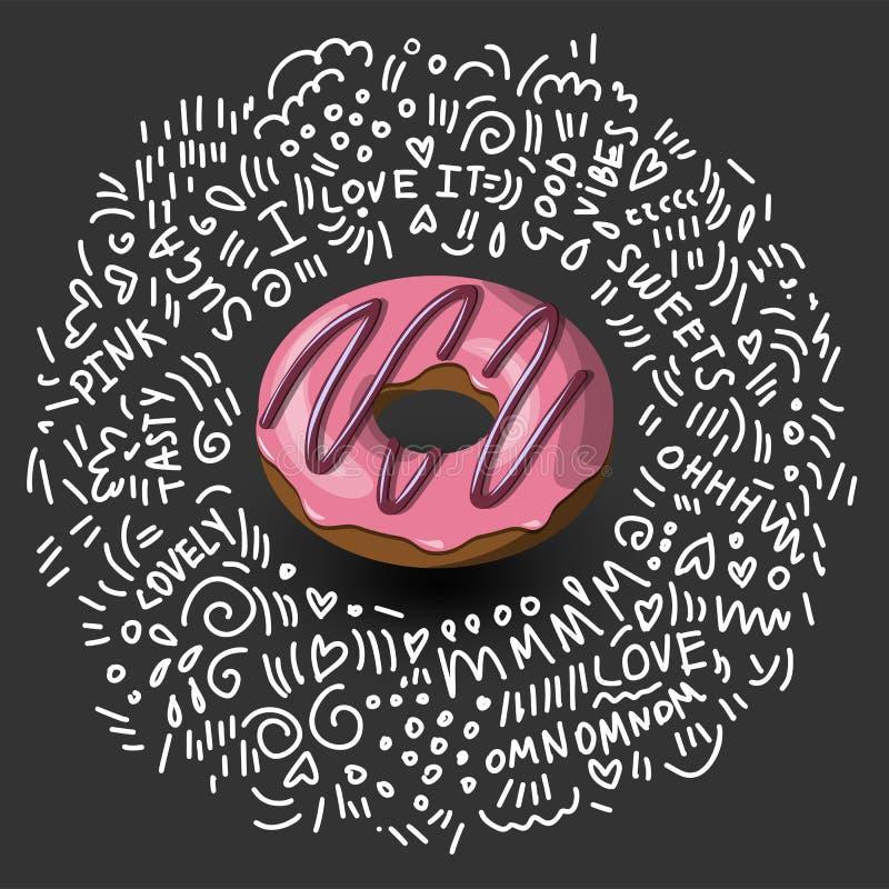 Значок донута в стиле шаржа Красочный очень вкусный донут с поливой пинка и шоколада Донут вектора значка на черноте иллюстрация штока