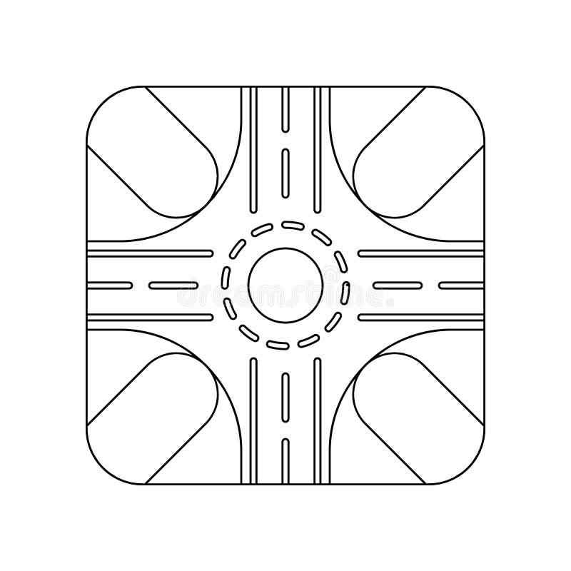 Значок дороги покрашенный кругом Элемент дорожных знаков и соединений для мобильных концепции и значка приложений сети План, тонк бесплатная иллюстрация