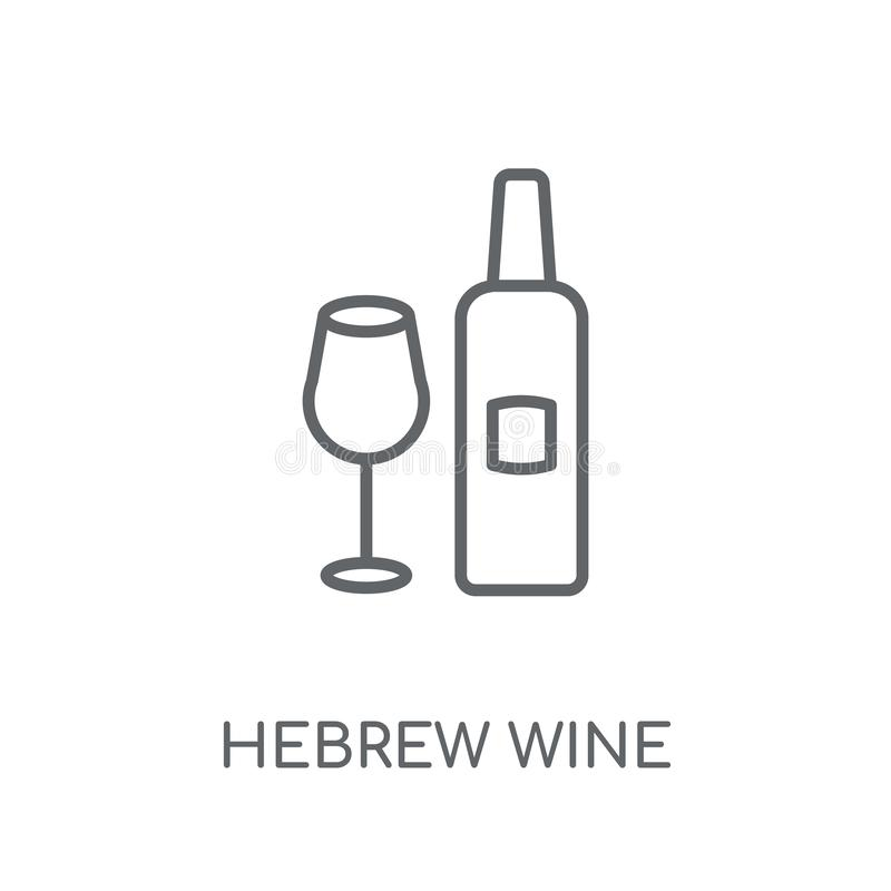Значок древнееврейского вина линейный Концепция логотипа вина современного плана древнееврейская иллюстрация штока