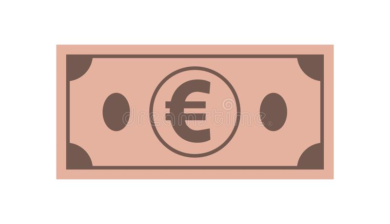 Значок евро бумажных денег, на изолированной белой предпосылке Символ currencie в плоском стиле иллюстрация штока
