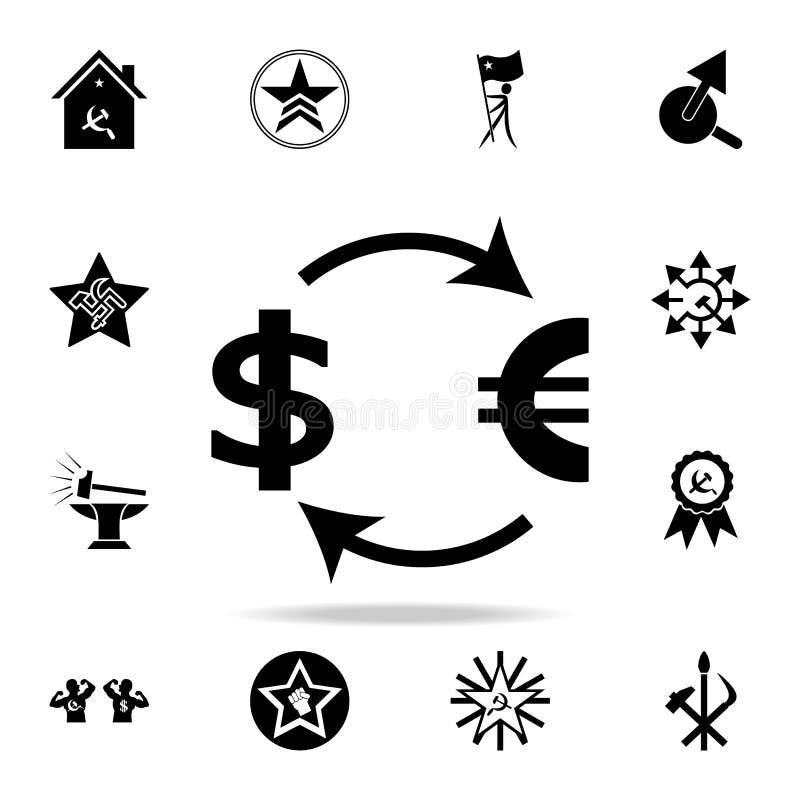значок евро доллара обменом Детальный набор значков коммунизма и социализма Наградной графический дизайн Один из значков собрания иллюстрация вектора