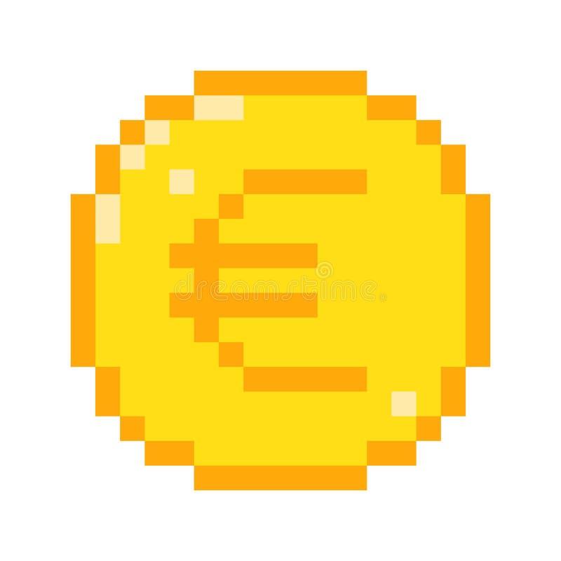 Значок евро пиксела вектора иллюстрация вектора