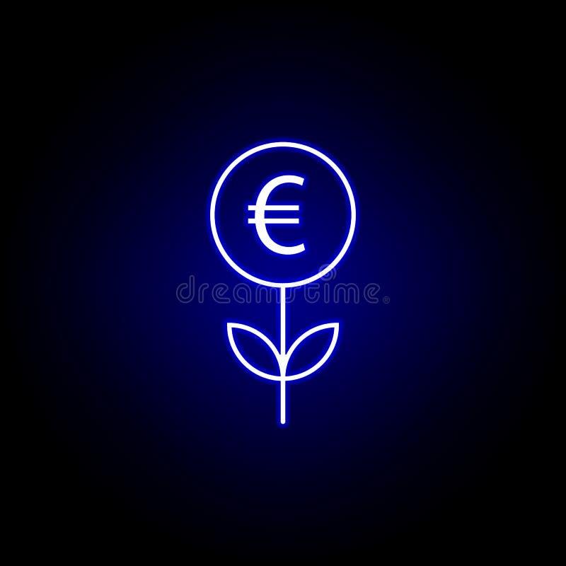 значок евро ростка в неоновом стиле Элемент иллюстрации финансов Знаки и значок символов можно использовать для сети, логотипа, м бесплатная иллюстрация