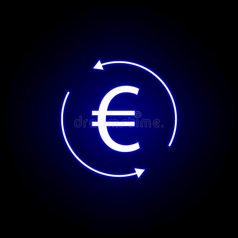 значок евро стрелки круга в неоновом стиле Элемент иллюстрации финансов Знаки и значок символов можно использовать для сети, лого иллюстрация штока