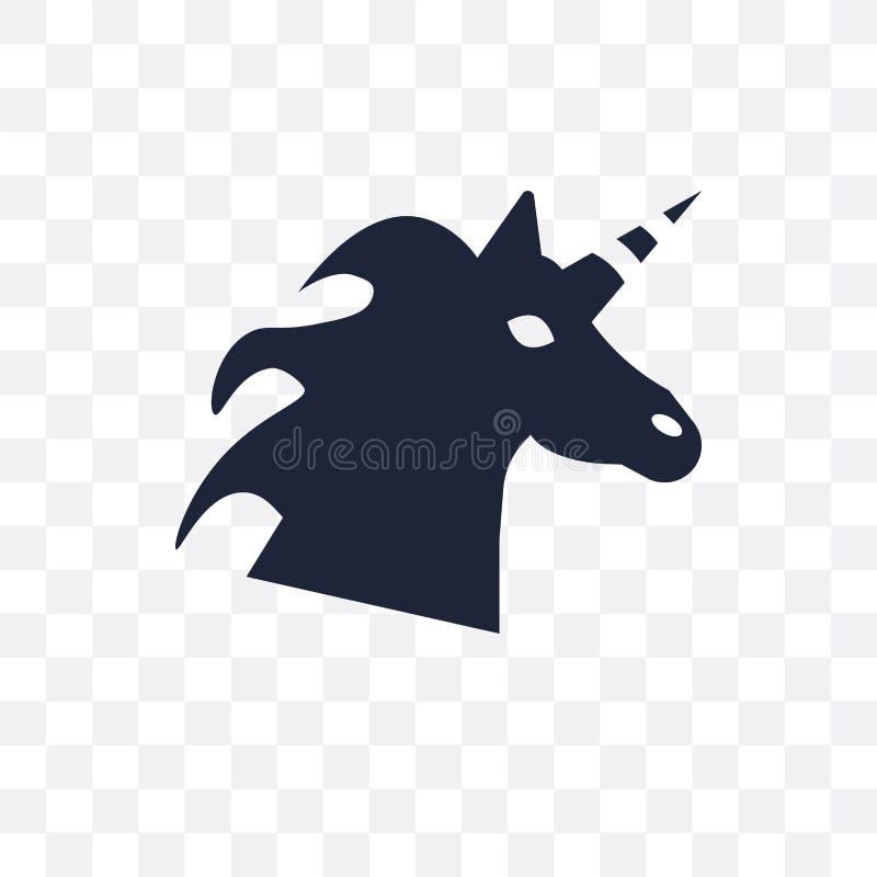 Значок единорога прозрачный Дизайн символа единорога от сказки иллюстрация штока