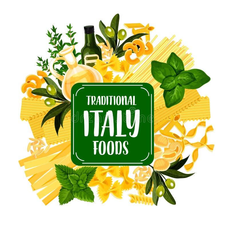 Значок еды Италии с макаронными изделиями от итальянской кухни иллюстрация штока