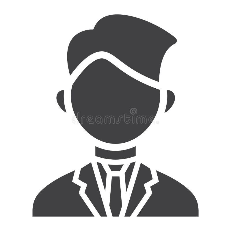 Значок, дело и персона бизнесмена твердые иллюстрация вектора