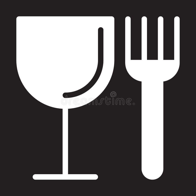 Значок еды, вилки и стекла, иллюстрация вектора бесплатная иллюстрация