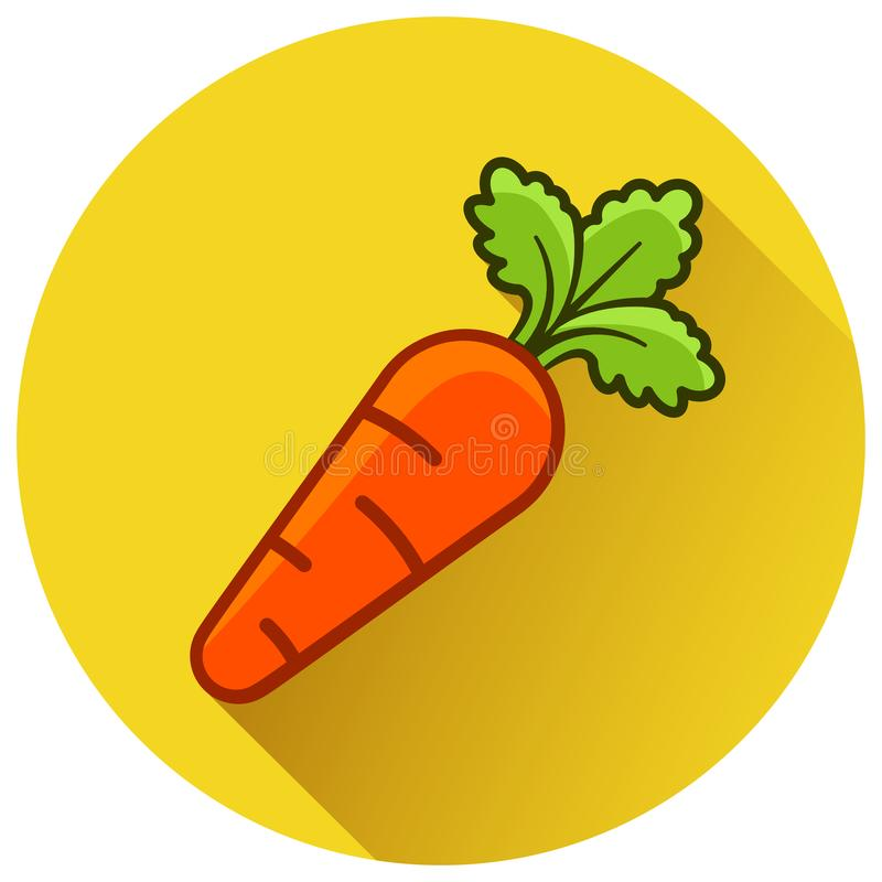 Значок желтого цвета круга моркови плоский иллюстрация вектора