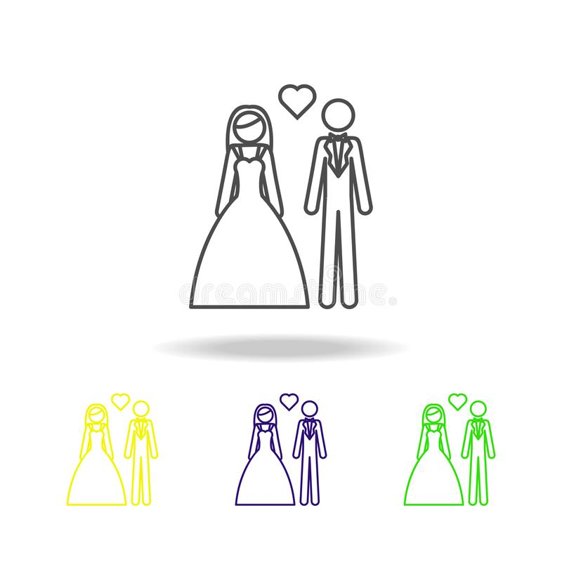 значок жениха и невеста пестротканый Элемент свадьбы, тонкая линия пестротканый значок можно использовать для сети, логотипа, моб иллюстрация штока