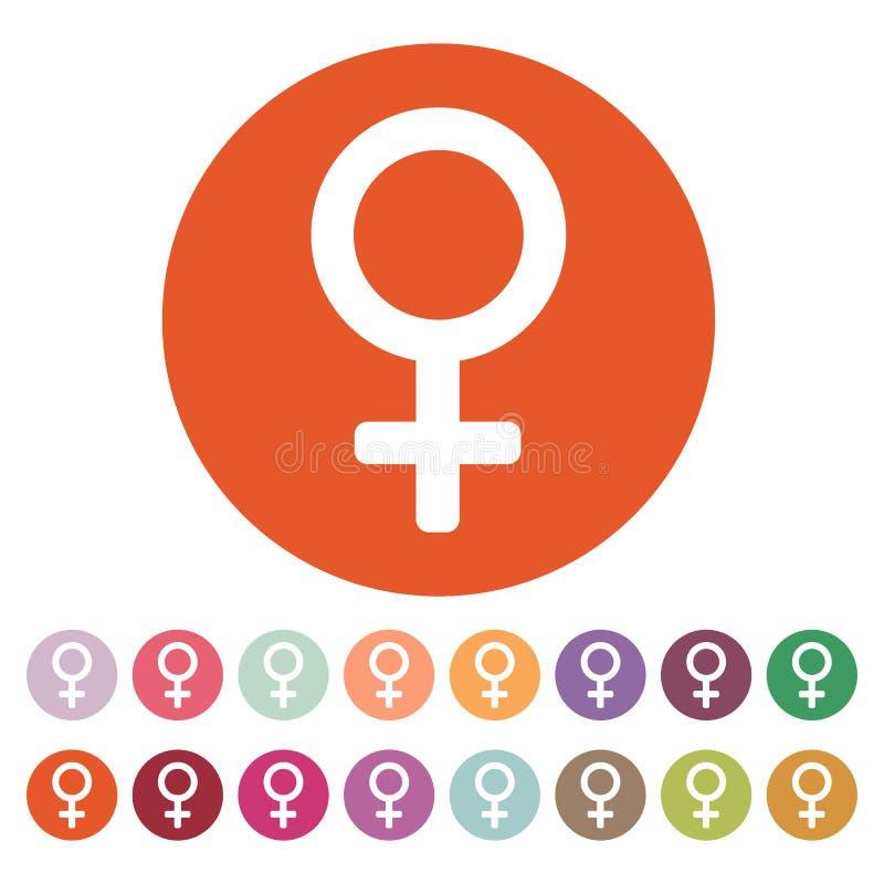 Значок женщин цифрово произведенный женщиной символ изображения плоско иллюстрация штока