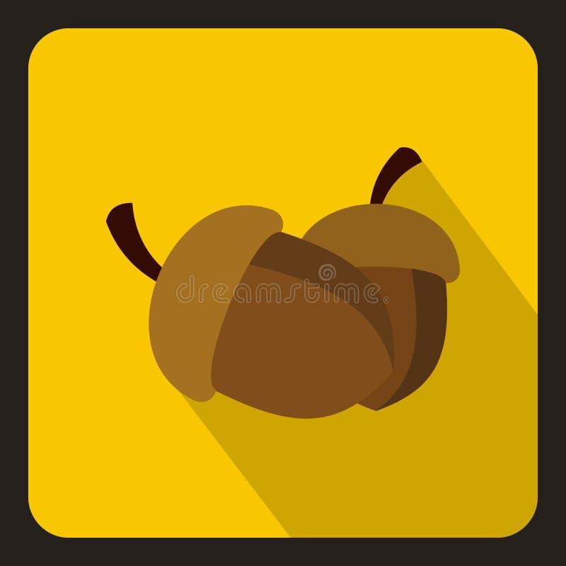 Значок 2 жолудей, плоский стиль иллюстрация вектора