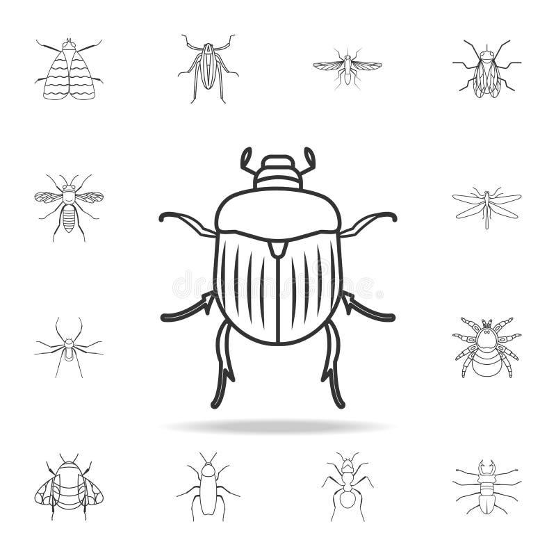 Значок жук-чефера Детальный комплект линии иллюстраций насекомых Наградной качественный значок графического дизайна Один из значк иллюстрация штока