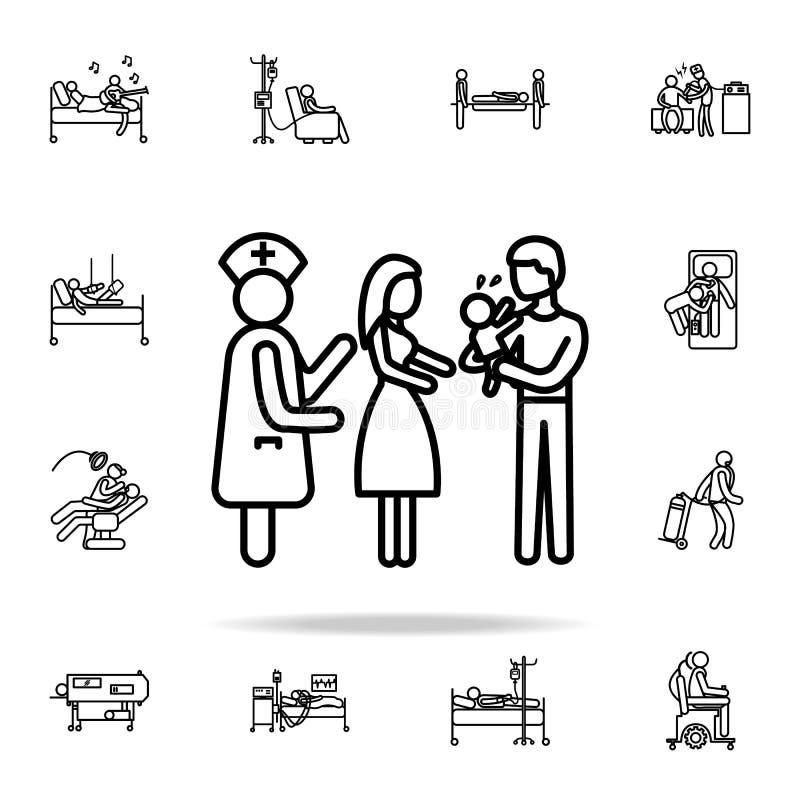 значок заболеванием младенца Комплект значков больницы всеобщий для сети и черни иллюстрация штока