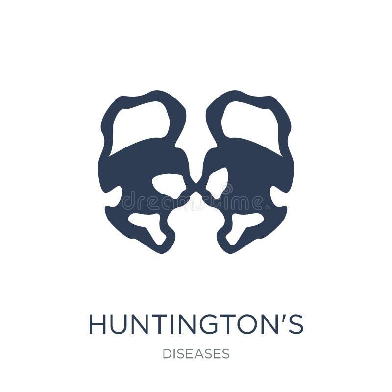 Значок заболеванием Huntington Ультрамодное disea плоского Huntington вектора иллюстрация вектора