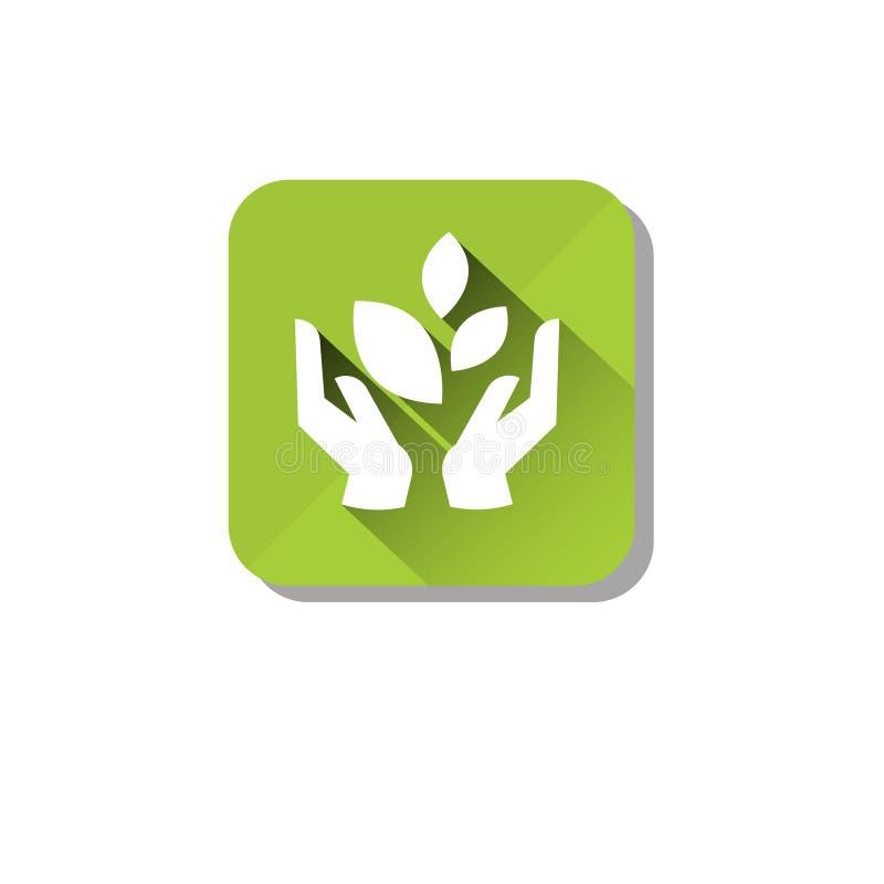 Значок заботы органической окружающей среды Eco чистый иллюстрация вектора