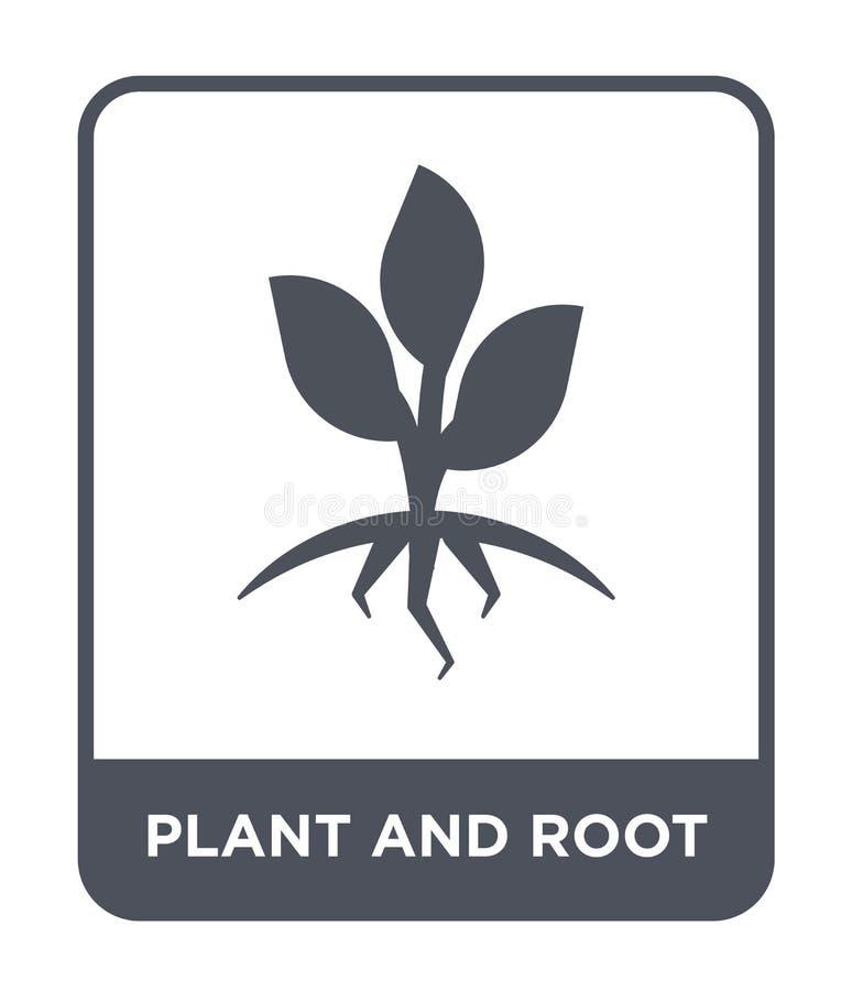 значок завода и корня в ультрамодном стиле дизайна значок завода и корня изолированный на белой предпосылке значок вектора завода иллюстрация вектора