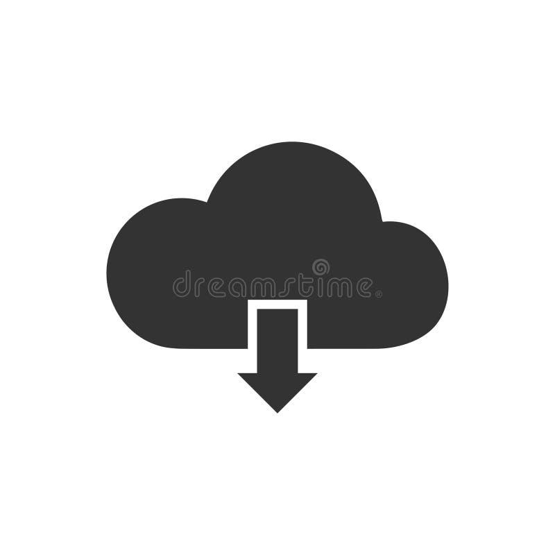 Значок загрузки облака плоско иллюстрация штока