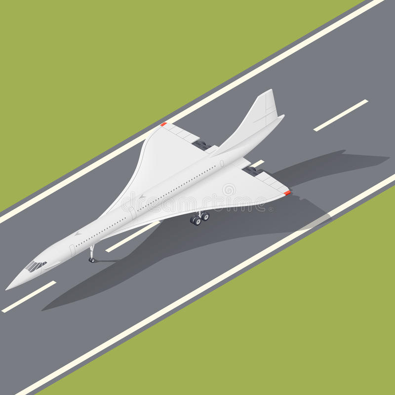 Значок зазвукового авиалайнера пассажира равновеликий иллюстрация вектора