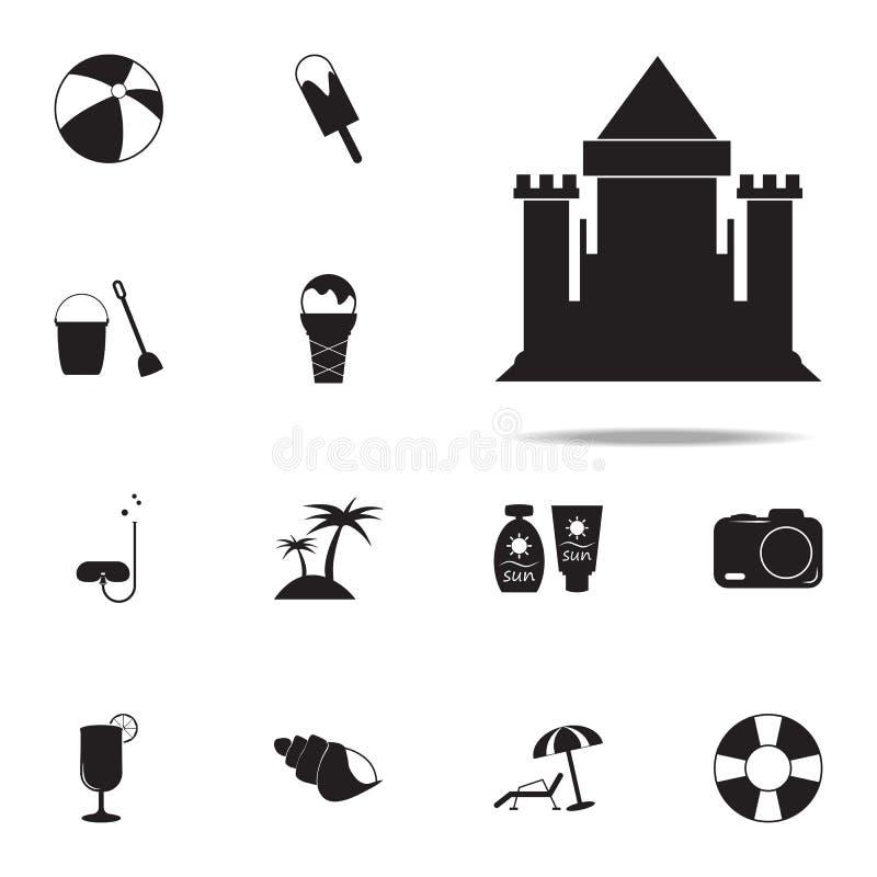Значок замка песка набор значков удовольствия лета всеобщий для сети и черни бесплатная иллюстрация