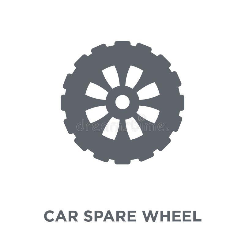 значок запасного колеса автомобиля от собрания частей автомобиля иллюстрация вектора