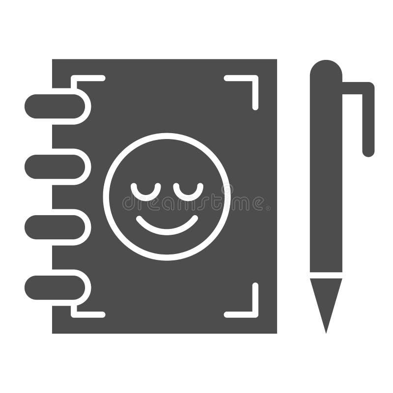 Значок записной книжки и перо Блокнот с изображением вектора смайликов, изолированный на белом Изучение дизайна глифов бесплатная иллюстрация