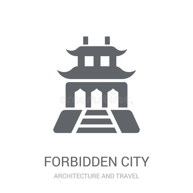 Значок запретного города Ультрамодная концепция логотипа запретного города на белизне иллюстрация штока