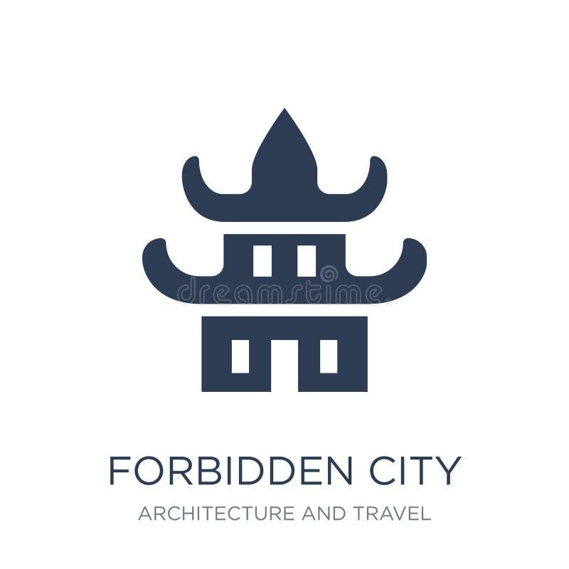 Значок запретного города Ультрамодный плоский значок запретного города вектора на w иллюстрация вектора