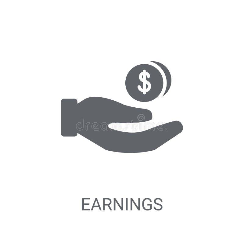 Значок заработков Ультрамодная концепция логотипа заработков на белой предпосылке иллюстрация вектора