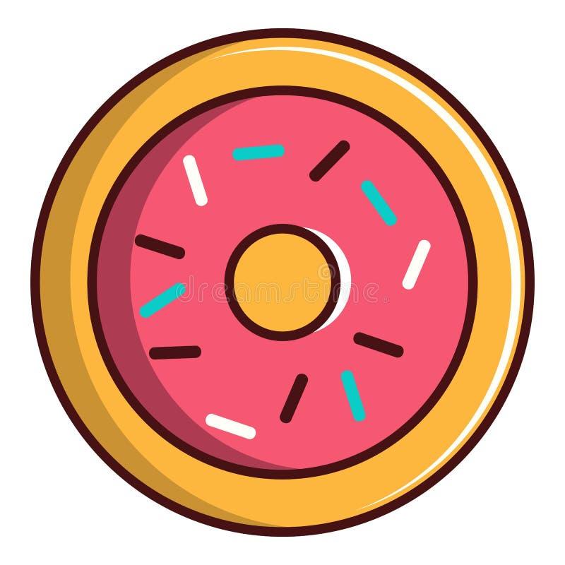 Значок застекленного донута пинка, стиль шаржа иллюстрация вектора