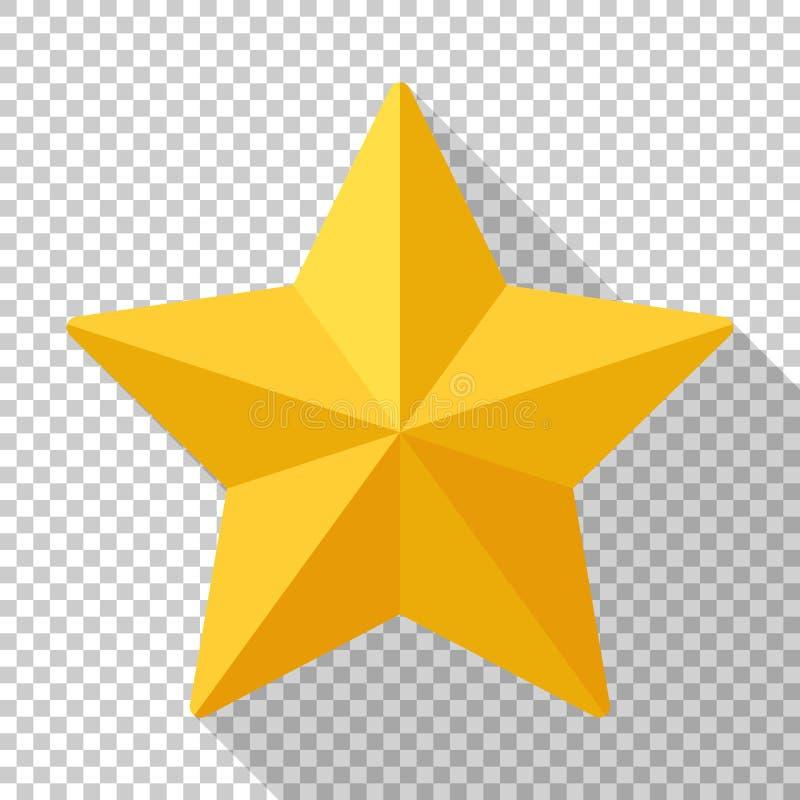 Значок звезды золота на прозрачной предпосылке иллюстрация штока