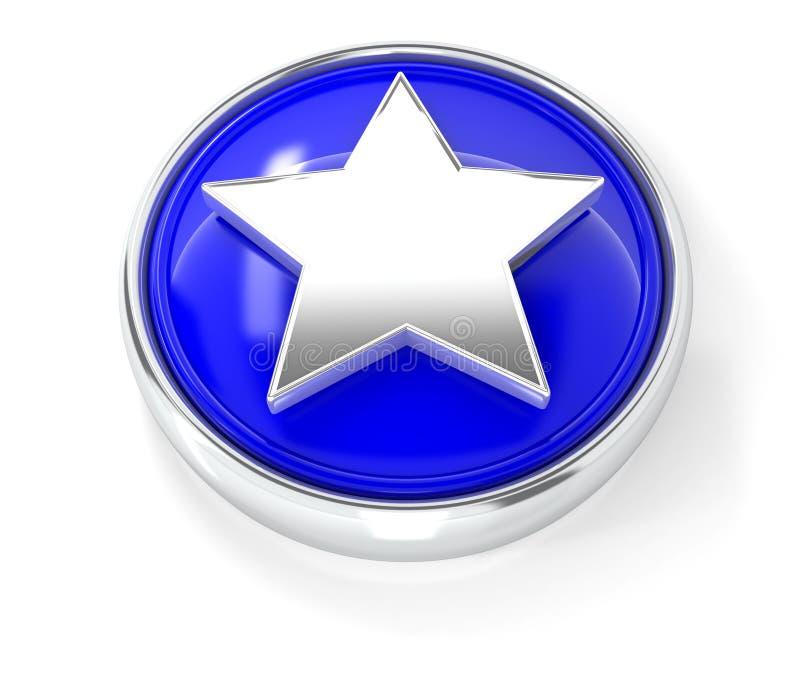 Значок звезды на лоснистой голубой круглой кнопке бесплатная иллюстрация