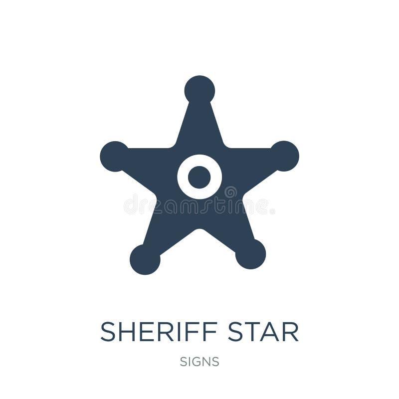 значок звезды шерифа в ультрамодном стиле дизайна Значок звезды шерифа изолированный на белой предпосылке значок вектора звезды ш бесплатная иллюстрация