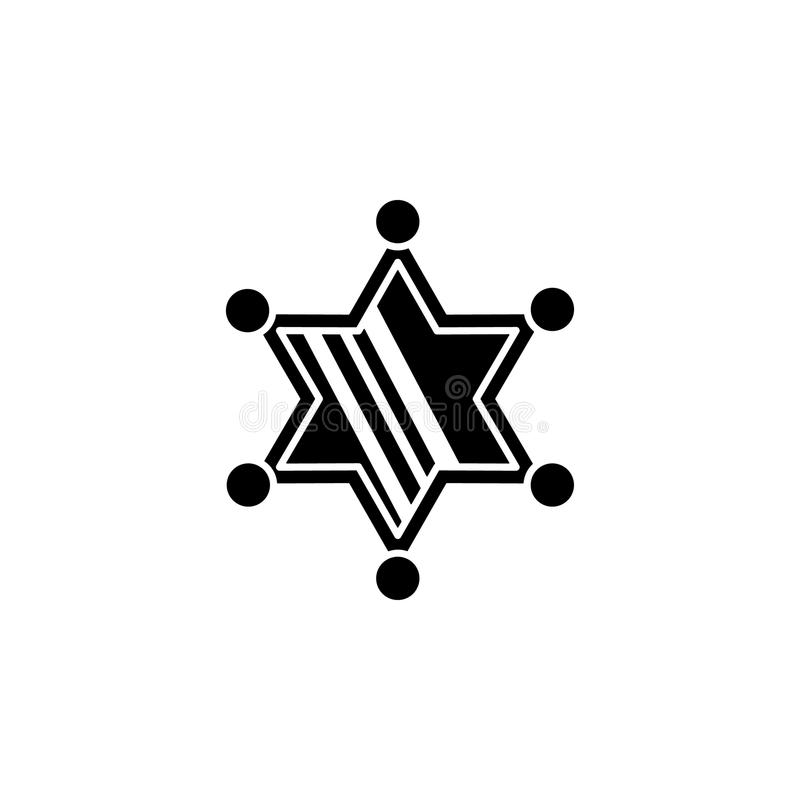 значок звезды шерифа Элемент значка Диких Западов для передвижных apps концепции и сети Значок звезды материального шерифа стиля  иллюстрация вектора