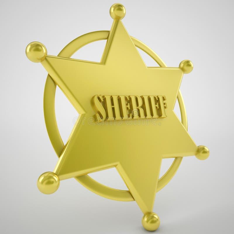 Значок звезды шерифа золота иллюстрация вектора