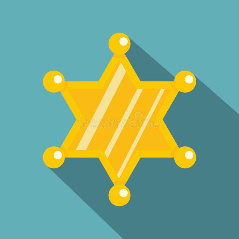 Значок звезды шерифа, плоский стиль иллюстрация вектора